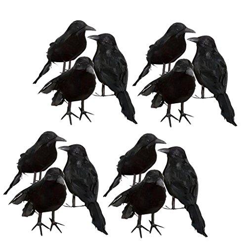 MagiDeal 12 Stücke Schwarz Gefiederte Kleine Krähen Vögel Raben Stützen Halloween Dekor