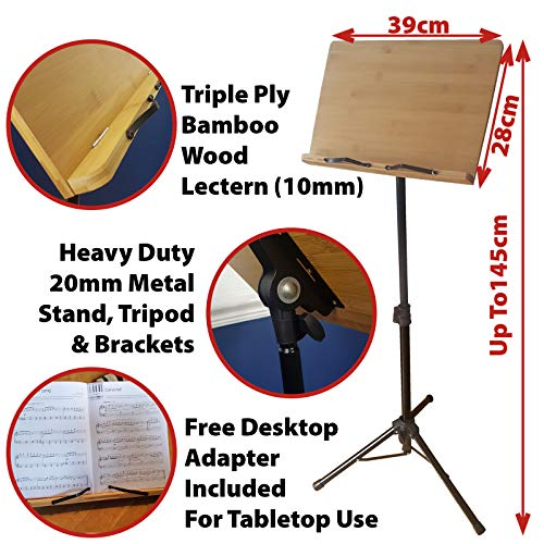 Neusu Wooden Music Stand - Heavy Duty Wood Sheet Music Stand & Foldable Metal Tripod + Table Top Adapter - Professional Grade