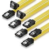 deleyCON SATA Kabel 50cm S-ATA 3 HDD SSD Datenkabel 6 GBit/s - 2X gerade zu gerade + 2X 90° zu gerade - 4 Stück Farbe: Gelb
