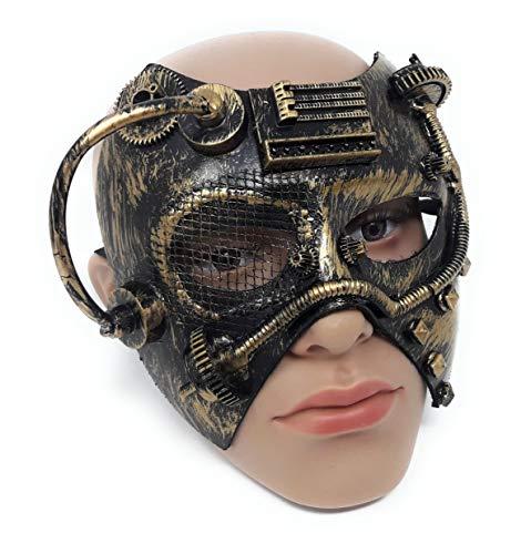 Fiestas Guirca Maske Karneval Fasching Maske Unisex Steampunk Punk Gold schwarz 18 x 13 ()