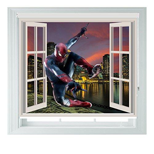 Finestra avengers spiderman 3d vista diverse misure black out tende a rullo per camere da letto, bagni e cucine camper aoa®, 3ft/91cm