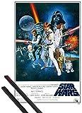 1art1 Póster + Soporte: Star Wars Póster (91x61 cm) Episodio IV, Una Nueva Esperanza, Cartel De Cine Y 1 Lote De 2 Varillas Negras