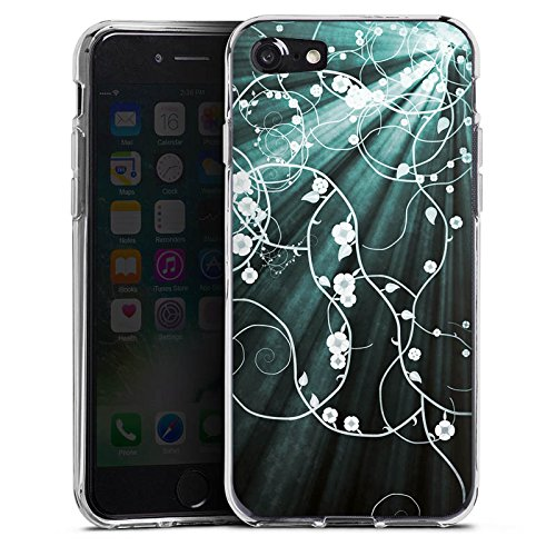 Apple iPhone X Silikon Hülle Case Schutzhülle Blumen Muster Licht Silikon Case transparent