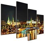 Bilderdepot24 Kunstdruck - Nachtansicht des Kreml - Moskau - Bild auf Leinwand - 120x80 cm vierteilig - Leinwandbilder - Bilder als Leinwanddruck - Wandbild