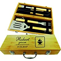 Personalized BBQ Set Accessories with Storage Natural bamboo box Gift for Man Dad