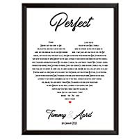 Framed Occasions Personalised Song Lyrics Wall Art Print Decor - ED SHEERAN - PERFECT - wedding, first dance, Christmas keepsake for couple husband wife boyfriend girlfriend. Wall poster/picture