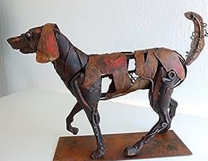 N/A Metall-Skulptur Jagdhund Edelrost, Metallfigur Hund, Jagdhund aus Metall abstrakt, ca. 48 x 13 x 34 cm