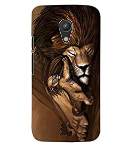 ColourCraft Lion and Cute Cub Design Back Case Cover for MOTOROLA MOTO G2