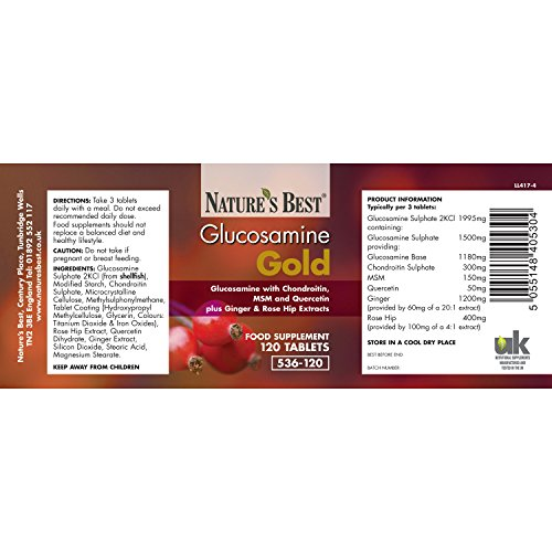 Glucosamine Gold- A Unique High Potency Formula With Chondroitin, Ginger, Msm And Rosehips- 240 Tablets, UK-Made