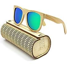 Coface Moda Vintage madera al aire libre Gafas de sol Gafas de sol unisex de los vidrios UV400 verde