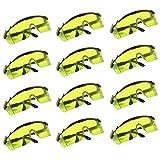 Belle Vous - 12er Set Anti Nebel Sicherheitbrille mit Gelben Schutzlinsen - Haltbare Gelb Getönte Starke Arbeitsbrille zum UV-Strahlen, Sonnenblendschutz, Nerf N-Strike Elite Gun, Baustelle und Mehr