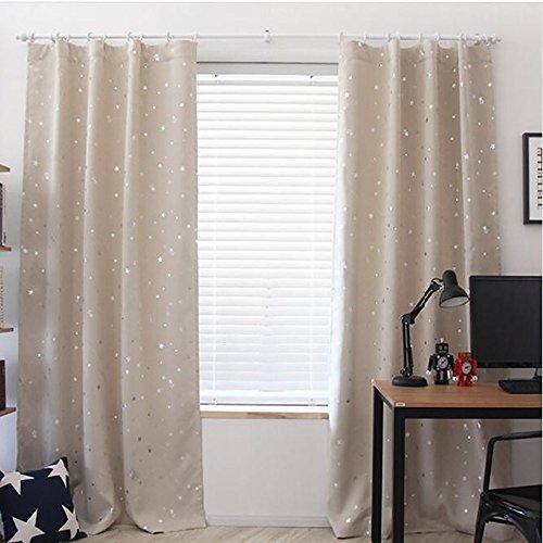 TianranRT Sternenhimmel Vorhänge Haken Beige Sternenhimmel Himmel Vorhang Tüll Fenster Behandlung Voile Vorhang Volant 1 Platte Stoff (Beige)