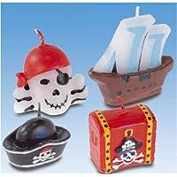 Amscan–551283–4Kerzen mit Mini Figur Piraten