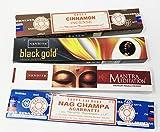 NANDITA, SATYA Sterling Effectz Räucherstäbchen, Mantra Meditation, Schwarzgold, Zimt, Nag Champa, magnetisches Lesezeichen