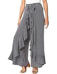 Fathoit Pantalon Fluide Femme éTé Rayé,Pantalon Ete Femmes Noeud Papillon  Flare Pantalon Large Taille a5e5bf60dda6