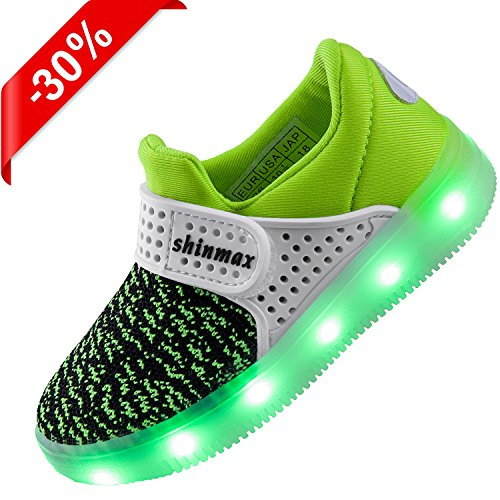 【2016 NEW RELEASE】Shinmax Frühling-Sommer-Herbst-Breathable LED Schuhe 7 Farben USB Aufladbare Leuchtschuhe Kinderschuhe mit CE-Zertifikat für Halloween Weihnachten Dank Giving Day 00123 (36, - Auf Halloween Sicher