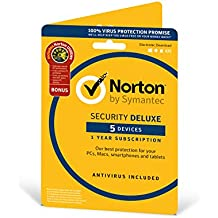Norton Security Deluxe 2019 | 5 Devices + Utilities| 1 Year | Antivirus Included | PC/Mac/iOS/Android | Activation Code by Post