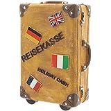 Spardose Reisekoffer Keramik Koffer Sparschwein Sparbüchse 15cmx11cm braun