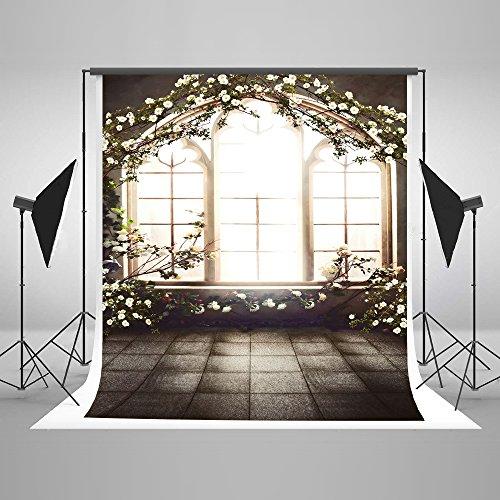 KateHome PHOTOSTUDIOS 2x3 m Indoor Fotografie Hintergrund Mikrofaser Blumen Fenster Foto Kulissen Hochzeit Kinder Baby Fotografie Hintergründe für Studios