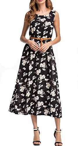 Jusfitsu donna estivo vestito lungo senza maniche stampa fiore maxi abito nero xxl