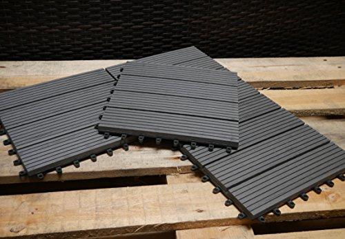 1m² Terrassenfliesen anthrazit WPC 11 Fliesen je 30x30 cm 1 m² Fliese Holzoptik