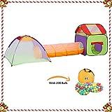 KExing Kinderspielzelt Spielzelt Spielhaus Krabbeltunnel, Kleinkind Spielzeug für Haus, drinnen und draußen, Kinder Spielhaus mit Spieltunnel und 200 Balle, Kinder.