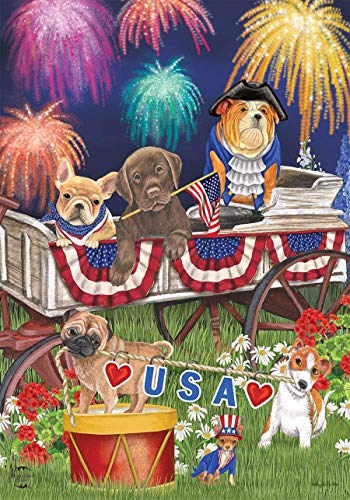 CHKWYN Patriotic Pups Fourth of July Garden Flag Fireworks Dogs USA for Party Outdoor Home Decor Size: 12.5-inches W X 18-inches H -