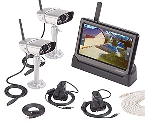 2 x Outdoor WIFI CCTV Night Vision Recordable Cameras With Monitor Kit Smartphone Viewing System