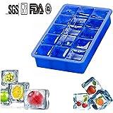 Silicona bandeja de hielo Mold suave cuadrados Cubito de hielo bandeja de whisky hielo Chocolate Candy moldes para helados alimentos bebida congelador 15Cavidad, (azul)