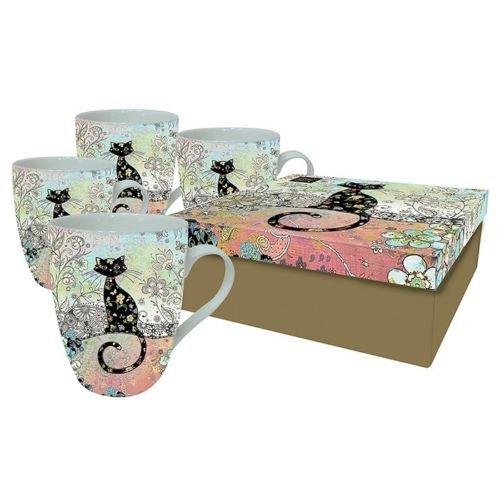 Juego de tazas de gato negro–en caja de regalo–de porcelana