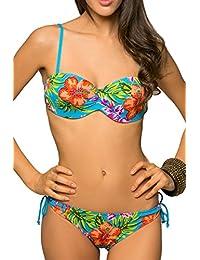 Maillot de Bain Femme 2 Pièces Bikini Bandeau Strass