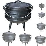 Grillmaster Gusseisen African Pot Potjie Dutch Oven Feuertopf Grill Lagerfeuer Topf Größenauswahl, Größe:3 L
