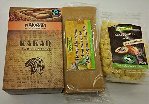 Kakao Back Mix-Set: 125 gr Naturata Bio Kakao stark entölt - 100 gr Rapunzel Bio-Kakaobutter - 250 gr Rapunzel Bio-Honig-Marzipan (MixSet gesamt 475 gr)