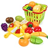#2: Zaid Collections 15 Pcs Realistic Slice Able Fruits And Vegetable Cutting Along With Basket