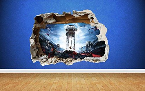 Preisvergleich Produktbild Star Wars Battlefront 3D Stil zerstörten Wand Aufkleber Kinder Schlafzimmer Vinyl, Vinyl, Large: 80cm x 58cm