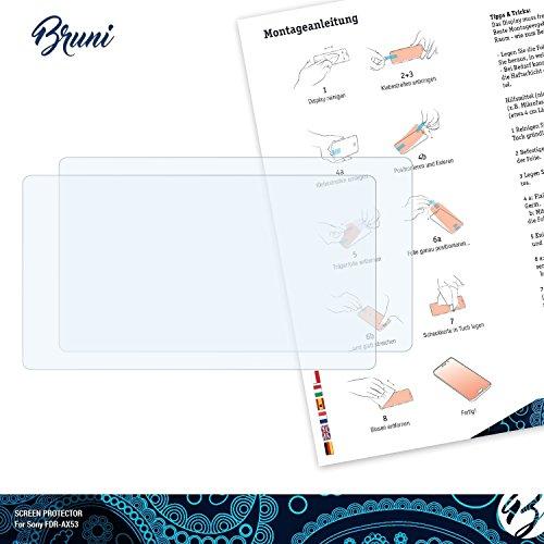Bruni-Pellicola-Protettiva-per-Sony-FDR-AX53-Pellicola-Proteggi-2-x-cristallino-Protezione-Pellicola-dello-Schermo