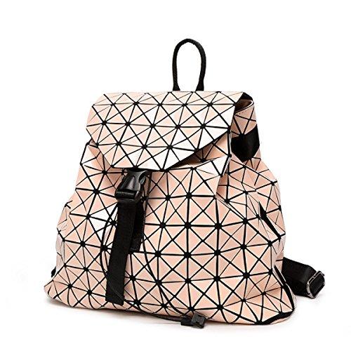 Frau Laser Rubiks Cube Rucksack Lackleder Ling Ge Reise Großer Rucksack Japanisch Geometrie Falten Handtaschen,Pink-OneSize (Leuchtend Rosa Wickeltasche)