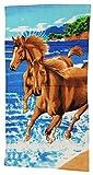 Ilkadim Strandtuch 70x140cm, Handtuch für Kinder und Erwachsene, Badetuch 100% Baumwolle (bunt, Pferde am Wasser 3)