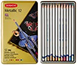 Derwent 700456 Metallic 12 Water-Soluble Colouring Pencils Tin - Set of 12