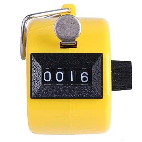 FOANA Farbiger Digitaler Handzähler mit 4 Ziffern und Klicker, Golf, Chrom gelb -
