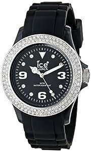 ICE-Watch - Montre femme - Quartz Analogique - Ice-Star - Black Silver - Unisex - Cadran Noir - Bracelet Silicone Noir - ST.BS.U.S.09