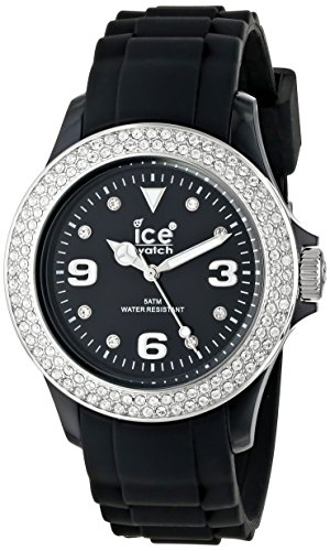 ICE-Watch - Montre femme - Quartz Analogique - Ice-Star - Black Silver - Unisex - Cadran Noir - Bracelet Silicone Noir - ST.BS.U.S.09