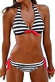Bettydom Frauen Streifen Taillierte Badeanzug Split Damen Bademode Set Bikini(Large,Schwarz Weiss)