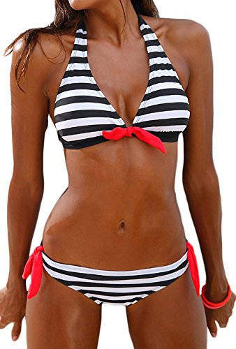 3b72e44bf890d Bettydom Cotton Two Pieces Bikini Set Pop Pattern I-Shaped Top   Low-Rise