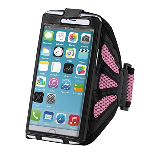 kwmobile fascia da braccio sportiva per Smartphones - jogging corsa borsa da sport fascia per fitness in fucsia - compatibile ad es. con Samsung, Apple