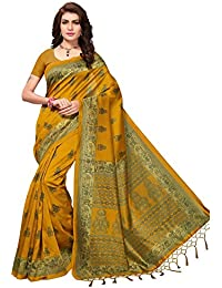 Ishin Poly Silk Mustard Yellow Printed Women's Sarii/Saree With Tassels