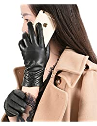 Men/'s Black Deluxe Fashion Genuine Goat Leather Wrist Gloves 3Lines Touch Screen