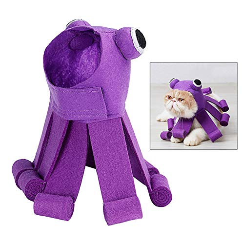(Wudi 1cp Pet Halloween-Hut Octopus Design Katze Cosplay verkleiden Hut-Weihnachtsfest-Katzen-Kostüm-Kleidung Festival-Party-lila Kopfschmuck.)