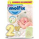 Molfix Diapers Jumbo Pack Mini with Unique 3D Technology - Jumbo Economy Pack 60 Pcs, Size 2