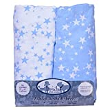 Blue Stars 2-Pack Fitted Crib Sheets (71 X 132 cm), Soft Woven Cotton 200 TC